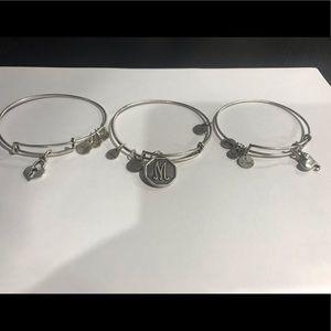 Jewelry - Alex and Ani silver bracelets, initial M & heart